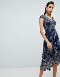 Read more about City goddess lace bardot midi dress - navy