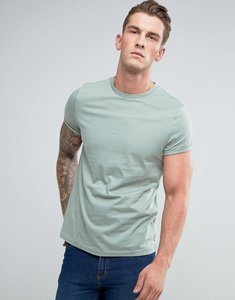 Read more about Asos t-shirt with crew neck and roll sleeve in green - resin