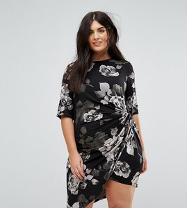 Read more about Yumi plus asymetric midi dress in mono floral - black