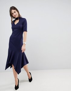 Read more about Asos design midi dress with pephem and collar - navy