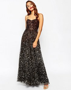 Read more about Asos red carpet scattered gold ombre embellished maxi dress - black