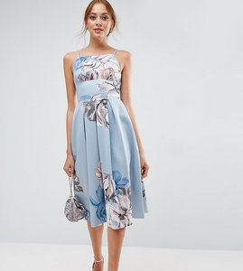 Read more about Asos tall strappy pinny floral midi debutante dress - multi