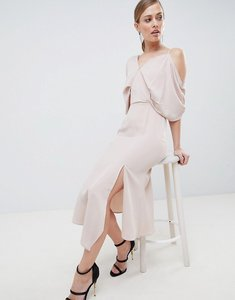 Read more about Lavish alice asymmetric cold shoulder floaty midaxi dress - nude