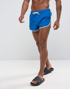 Read more about Asos swim shorts with extreme side split and contrast binding in super short length - blue