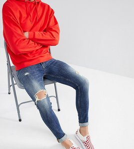 Read more about Just junkies super skinny stretch jeans in mid wash with rip and repair - 543 wave blue