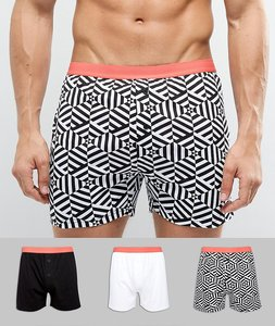 Read more about Asos jersey boxer in monochrome print 3 pack save - multi