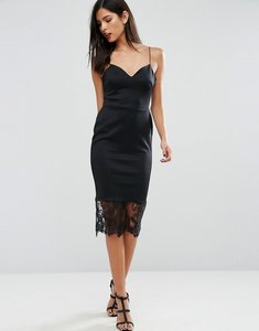Read more about Asos scuba deep plunge midi bodycon dress with lace hem - black