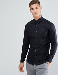 Read more about Selected homme slim shirt with tipped collar - black