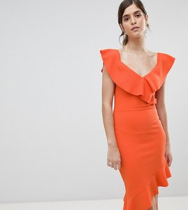 Read more about Silver bloom off shoulder midi dress with pephem - orange