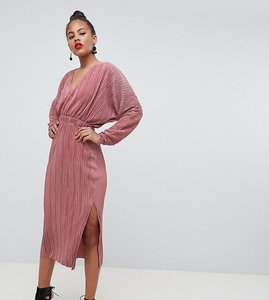 Read more about Asos design tall batwing midi plisse dress - dusky rose