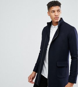 Read more about Noak tall asymmetric funnel neck overcoat - navy