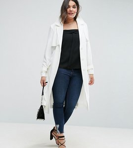 Read more about Asos curve mac in structured crepe with oversized pockets - white