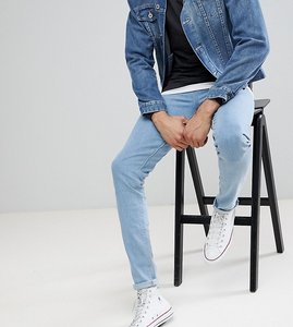 Read more about Asos tall skinny jeans in flat light wash - light wash blue