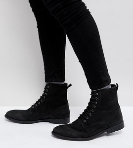 Read more about Asos wide fit lace up boots in black leather with distressed sole - black