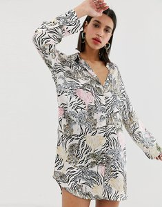 Read more about Neon rose relaxed shirt dress in botanical animal print