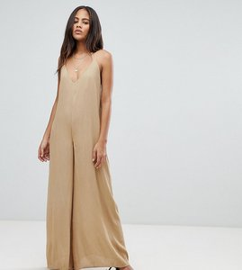 Read more about Asos design tall deep v strap back jumpsuit - light khaki