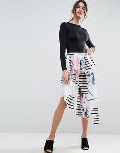 Read more about Asos printed midi skirt in satin with deconstructed detail - multi