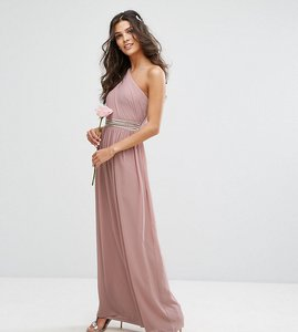 Read more about Tfnc one shoulder embellished maxi bridesmaid dress - pale mauve