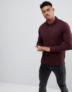 Read more about Original penguin pique polo long sleeve small logo slim fit in burgundy marl - sassafras heather
