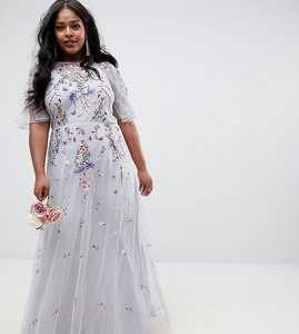 Read more about Asos design curve floral embroidered dobby mesh flutter sleeve maxi dress - grey