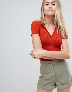 Read more about Bershka ribbed button front collar top - red