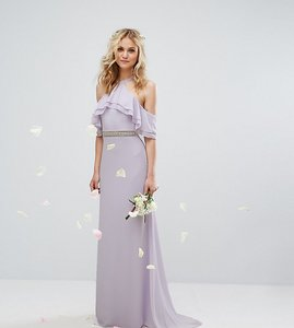 Read more about Tfnc wedding frill detail maxi dress with embellished waist and fishtail - lilac