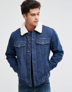 Read more about Bellfield borg lined denim jacket - mid wash