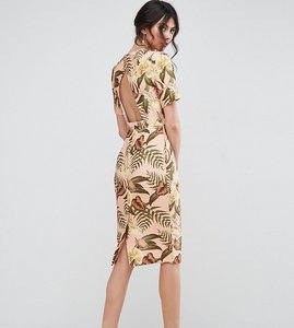 Read more about Asos tall wiggle dress with open back in tropical print - multi