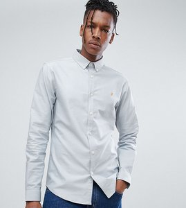 Read more about Farah skinny fit button down oxford shirt in blue - light blue 468
