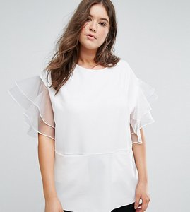 Read more about Asos curve tunic with frill sleeve - white