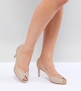 Read more about Asos design summer wide fit mid heels - champagne glitter