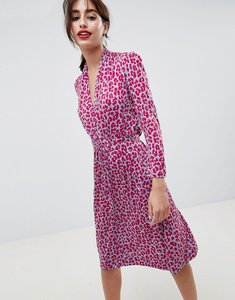 Read more about French connection animal print tie waist dress - red print