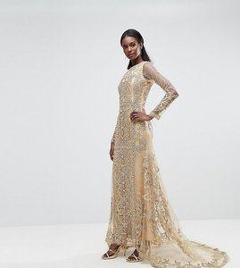 Read more about A star is born maxi dress with panelled embroidered embellishment - gold