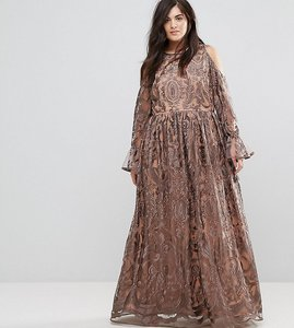 Read more about Truly you cold shoulder premium embroidered maxi dress - grey