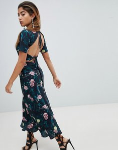 Read more about Fashion union maxi tea dress with tie open back in romantic floral - parrot