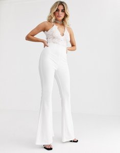 Read more about Rare london lace plunge front top wide leg jumpsuit in white