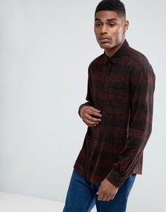 Read more about Asos oversized buffalo check shirt with acid wash - burgundy