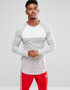 Read more about Asos longline muscle long sleeve t-shirt in textured fabric with contrast panels - grey