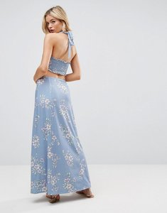 Read more about Asos halter neck maxi dress with shirred back panel in floral print - floral print