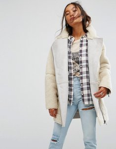 Read more about Asos luxe borg biker jacket - cream