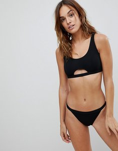Read more about Missguided ribbed cut out detail bikini top - black