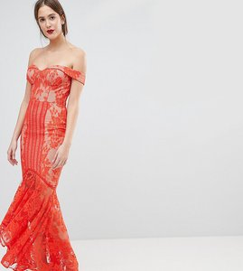 Read more about Jarlo tall all over lace off shoulder fishtail maxi dress - tomato orange