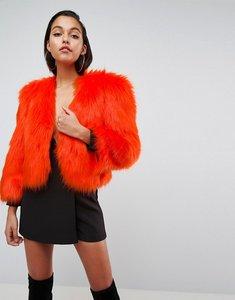 Read more about Asos 80 s statement shoulder faux fur jacket - orange