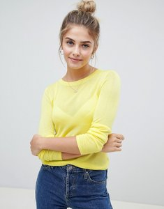 Read more about Asos jumper with crew neck in sheer knit - yellow