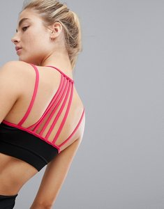 Read more about South beach colour block black and pink strap detail crop top - black raspberry