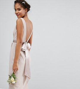Read more about Tfnc tall wedding wrap midi dress with bow back - mink
