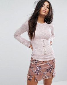 Read more about Glamorous ribbed long sleeve t-shirt with corset front - blush