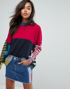 Read more about Tommy jeans multi stripe knitted jumper - red black multi