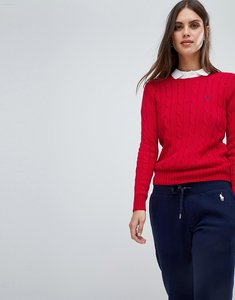 Read more about Polo ralph lauren cable knit jumper - red