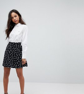 Read more about Asos petite mini skater skirt in spot print - mono